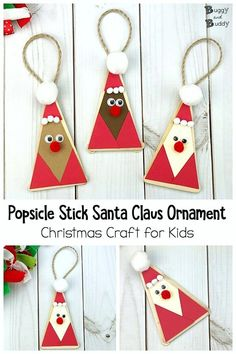 DIY Craft Stick Santa Claus Ornament with Free Printable Template: Use popsicle sticks to make these adorable, quick and easy Santa Christmas tree ornaments! Great for a classroom party or as a last minute Christmas project. Santa Crafts, Ornament Crafts, Diy Christmas Ornaments, Xmas Crafts, Craft Stick Crafts, Christmas Projects, Kids Christmas, Santa Ornaments, Kids Ornament