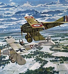 1917 01-26 The Boy Legend - Merv Corning 1917, January 26. Georges Guynemer, the boy legend of the French air force was flying a SPAD VII over Chaulnes. Although his gun was jammed, he dove a t a two-seat Albatros as if to fire. Keeping less than thirty feet behind the German, Guynemer chased it toward the French lines. all the time, the two planes were getting closer to the ground. Finally, at 300 feet, the Albatros signalled surrender and landed. The first time an airplane surrendered in…