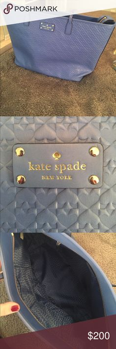 Kate Spade Tote This is a steal. This bag is BRAND NEW and has never been used. It's a beautiful royal blue and big enough to hold all your things! It is 18 1/2 inches in width and 11 1/2 inches in length! The bag has never been used and still has the original tags on it! kate spade Bags Totes