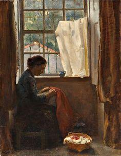 AURÉLIA DE SOUSA - Cena de interior com mulher a coser Óleo sobre tela, 41 x 32