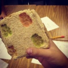 Gummy bears and bread to demonstrate fossils. Layers of bread represent layers of Earth. Add pressure by placing books on top. Leave for 3 days. Make predictions before and after experiment. This would be a good science lesson to do before our trip to the Natural History museum to understand what fossils are.