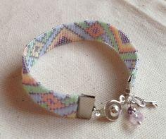 Bracelet Manchette Tissé Motif Triangles et Losanges 13 mm