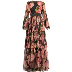 Dolce & Gabbana Tulip-print ruffle-trimmed silk gown ($5,395) via Polyvore featuring dresses, gowns, black multi, floral dresses, silk ball gown, floral evening gown, floral print evening gown and floral print gown