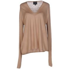 Hotel Particulier Jumper (€89) ❤ liked on Polyvore featuring tops, sweaters, camel, beige top, long sleeve sweater, long sleeve v neck sweater, v neck jumper and v-neck tops
