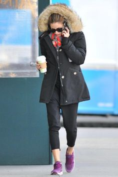 Olivia Palermo wearing Woolrich Arctic Parka, Iris Von Arnim Bauhaus Scarf in Chili and Nike Free 5.0 Sneakers in Bright Magenta