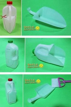 Use a milk carton to create a scoop! Reuse Containers, Plastic Milk Bottles, Reuse Plastic Bottles, Plastic Bottle Crafts, Recycled Bottles, Recycled Crafts, Diy And Crafts, Craft Tutorials, Recyle
