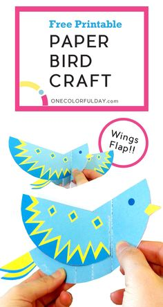 Free printable bird craft for kids. Create a bird that flap its wings when its tail is tugged on. Empty template to color your own bird.