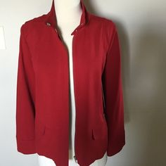 Flash sale  CHICO'S red knitted size 1.  m 8-10) New no tags , knitted modern beautiful red color,zippered chic and sleek jacket,size 1 Chico's or  Medium Chico's Jackets & Coats