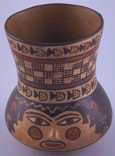 Cup with face design. Peru, Nasca, A.D. 5th century, 400-1000