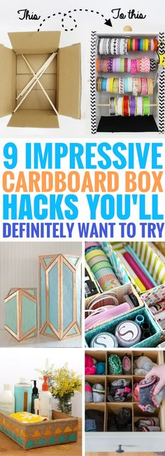 Cardboard Box Hacks that are seriously SO AWESOME. I'm so glad I came across these DIY Cardboard Box Ideas. So many fantastic ways to improve your home decor and have fun too!