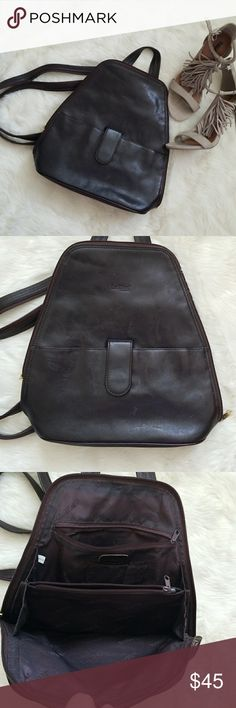 Vintage La Diva Leather Backpack Vintage brown leather backpack from La Diva Italian Design.  A few marks on front section as shown in last pic but otherwise excellent condition.  Zip straps to wear as backpack or throw over one shoulder. La Diva Bags Backpacks