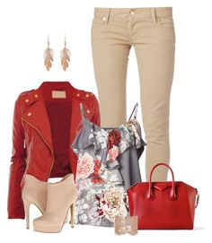 """Red Jacket"" by laaudra-rasco ❤ liked on Polyvore featuring Dsquared2, L'Agence, Givenchy, Chinese Laundry, Annette Ferdinandsen and Aurélie Bidermann"