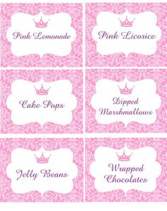 PRINCESS PARTY BUFFET Labels or Favor by traditionsbydonna on Etsy, $6.95