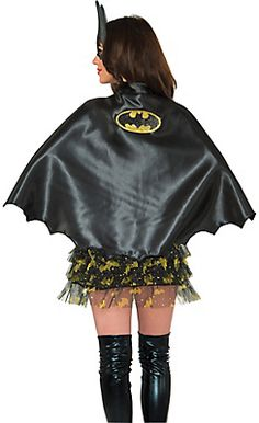 The black Batgirl Cape features a gold and black Batgirl logo on the back and a scalloped hem. Combine this Batgirl Cape with other Batman-themed superhero accessories for your Halloween costume. Halloween Costumes For Girls, Girl Costumes, Costumes For Women, Trendy Halloween, Batman Cape, Batman And Batgirl, Fancy Dress Accessories, Costume Accessories, Batgirl Costume