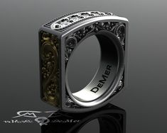 Square mens diamond ring. Heavily engraved two tone solid gold and sterling silver. Pinstripe and scrollwork. Steampunk Western Victorian.