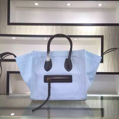 S/S 2016 Celine Cheap Bags Outlet Online -Celine 30CM Luggage Phantom Handbag in Black Leather and Sky Blue Canvas