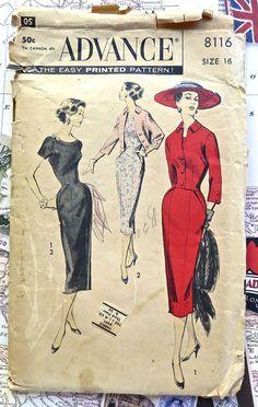 Advance 8116  1950s Womens Sheath Dress Jacket by Fragolina, $22.00
