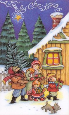 A Family Christmas -- by Mary Engelbreit, featuring snowy log cabin and pine trees                                                                                                                                                     More