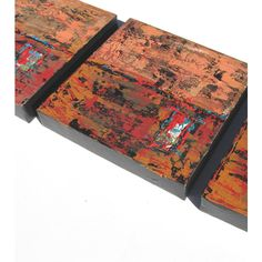 SALE, Rust Acrylic Abstract Paintings, Original Triptych with rustic... (€115) ❤ liked on Polyvore featuring home, home decor and wall art