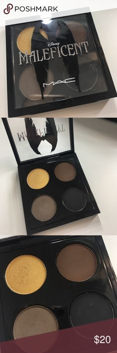 Mac eyeshadow quad in maleficent Mac eyeshadow quad in the limited edition maleficent packaging! It includes gold mine, carbon, concrete and ground brown. Used twice. MAC Cosmetics Makeup Eyeshadow
