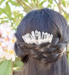 Raw Crystal Hair Comb,Clear Crystal Hair Comb,Bridesmaid Hair Comb,Boho Hair Pin,Mermaid Crown,Braid Jewelry,Beach Wedding,Quartz Comb by thefawnandthesparrow on Etsy https://www.etsy.com/listing/532727557/raw-crystal-hair-combclear-crystal-hair