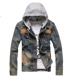 Men's Denim Jacket with Removable Hood