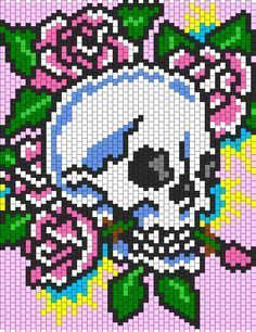 Ed Hardy Skull And Roses Bead Pattern Could probably use this as a cross stitch . Ed Hardy Skull And Roses Bead Pattern Could probably use this as a cross stitch pattern Kandi Patterns, Peyote Stitch Patterns, Hama Beads Patterns, Beading Patterns, Cross Stitch Charts, Beading Tutorials, Jewelry Patterns, Crochet Patterns, Cross Stitching