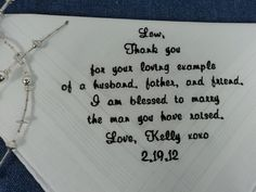 Gift for Father of the Groom from the Bride Embroidered White Wedding Handkerchief Personalized. $25.00, via Etsy.