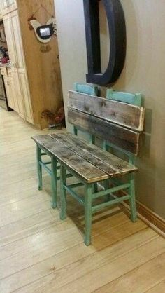Rustic bench painted and distressed in aqua. Made from old chairs. Rustic bench painted and distressed in aqua. Made from old chairs. Metal Furniture, Repurposed Furniture, Pallet Furniture, Furniture Projects, Rustic Furniture, Furniture Makeover, Home Projects, Painted Furniture, Antique Furniture