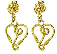 GREEK MUSEUM REPRODUCTION GOLD HAMMERED DOUBLE HEADED SNAKE SERPENT EARRINGS  #GREEKMUSUEMREPRODUCTIONS