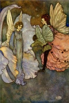 Edmund Dulac ~ She Smiled At Him ~ Fairies I Have Met by Mrs. (Maud Margaret) Rodolph Stawell ~ 1910 ~ full text via The Open Library She smiled at him very graciously when he was introduced to her. ~ Illustration for Princess Orchid's Party Edmund Dulac, Art And Illustration, Book Illustrations, Magical Creatures, Fantasy Creatures, Arte Elemental, Walter Crane, Kobold, Vintage Fairies