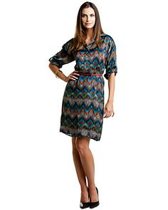 Tahari ASL 'Timmy' Turquoise Print Belted Shirt Dress