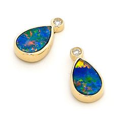 2 stones 8mm x 5mm Pear Master crafted 14k Yellow Gold Light Opal Doublet Earrings, by our experienced opal jewelers