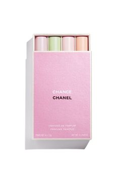 These four Chanel Chance Perfume Pencils are everything you need to make sure you're on top of the fashion game. Chanel Makeup Set, Chanel Beauty, Perfume Chanel, Valentino Parfum, Makeup Package, Chance Chanel, Vogue Paris, Crayon, Mode Inspiration