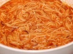 Sopa de Fideo- I add ground beef to my fideo for a hearty meal vs a side dish.) oh and 1 tbsp of evoo should be fine to fry one bag fideo noodles! Authentic Mexican Recipes, Mexican Food Recipes, Soup Recipes, Cooking Recipes, Mexican Desserts, Freezer Recipes, Budget Recipes, Freezer Cooking, Vegetarian