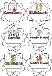 distintivi degli incarichi degli alunni: capoclasse, bibliotecario, capofila, controllore dei compiti, giardiniere, segretario personale