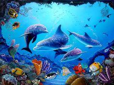 golfinhos e peixes Vetor