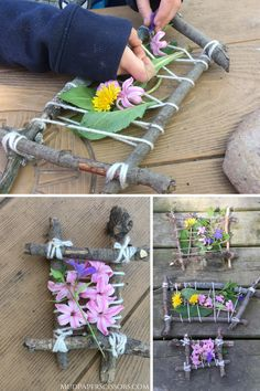 This nature weaving craft is a great activity for the kids.  Incorporate a nature walk, or do this in your backyard with nature materials you find there.  #natureweavingforkids #natureweavingcraft #naturecraftspreschool #naturecraftsforkids #natureactivitiesforkids