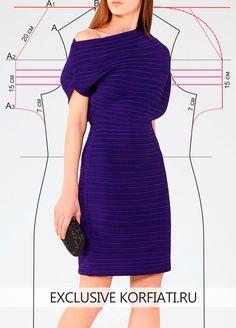 Ткань гофре не часто используется для пошива платьев. Эта идея заслуживает вашего внимания. Силуэт и нестандартный крой. Выкройка платья из ткани гофре.