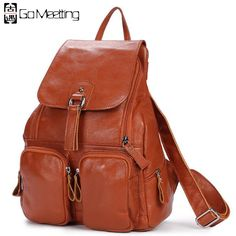 836719c32d Go Meetting Genuine Leather Women s Backpack Cowhide More Than Pocket Women  School Bag High Quality Travel