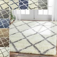 Complete any room with this Moroccan Berber inspired trellis shag rug, for an inviting, contemporary look that complements an impressive variety of decor styles. Made of hand hooked, machine weaved po
