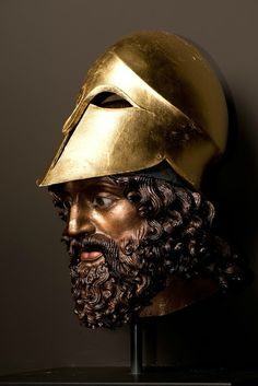 Reconstruction of the head of the Riace warrior (A), 2013. Copy of the original: Reggio di Calabria, ca. 460 BC. Recast bronze, with applied pigments and additional elements. Liebieghaus Skulpturensammlung, Polychromy Research Project, Frankfurt am Main, acquired 2016 as gift from U. Koch-Brinkmann and V. Brinkmann. Image courtesy of the Fine Arts Museums of San Francisco