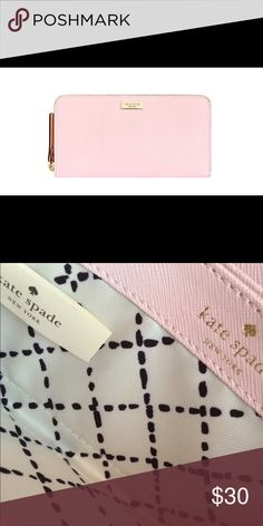Kate Spade Wallet Light pink with cute black and white design inside. kate spade Bags Wallets