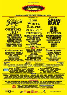 Reading 2004 August Bank Holiday, Bank Holiday Weekend, The Distillers, The Rasmus, Taking Back Sunday, Coheed And Cambria, Two Door Cinema Club, Vintage Music Posters, Reading Festival