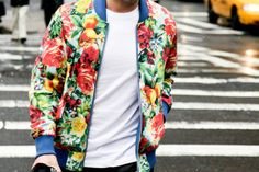 This mens floral print bomber is the bomb!