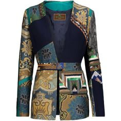 Etro - Patchwork Embellished Wool-crepe, Jacquard And Velvet Jacket (£1,065) ❤ liked on Polyvore featuring outerwear, jackets, blazers, coats & jackets, coats, multi, velvet blazer, blue sequin jacket, sequin blazer and embellished jacket