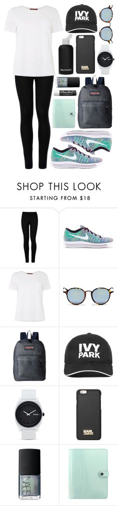 """Untitled #529"" by clary94 ❤ liked on Polyvore featuring Wolford, NIKE, MaxMara, Ray-Ban, JanSport, bkr, Ivy Park, Nixon, Karl Lagerfeld and NARS Cosmetics"