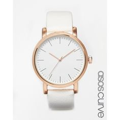 ASOS CURVE Large Dial Wide Strap Sleek Watch ($36) ❤ liked on Polyvore featuring jewelry, watches, plus size, white, white dial watches, dial watches, white watches, white wrist watch and pin jewelry