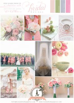 Pink and Green Wedding Inspiration Board By Rose & Ruby Paper Co.