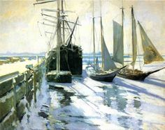 """""""Winter, Gloucester Harbor,"""" John Henry Twachman, ca. oil on canvas, 24 x private collection. (I've also seen this titled 'Connecticut Shore'. Impressionist Landscape, Landscape Paintings, Oil Paintings, American Impressionism, Winter Painting, Gloucester, American Artists, Connecticut, Canvas Art Prints"""